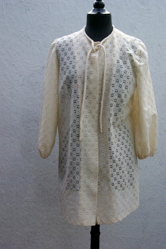 CLEARANCE SALE 70s Swimsuit Cover Up . Sheer Lace Mini Dress M-L