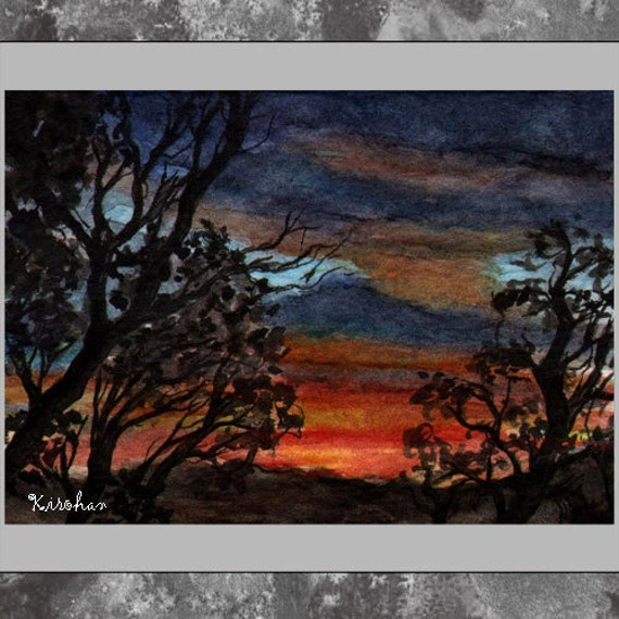 ACEO original -- Tropical Sunset