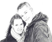 "5x7"" custom pencil portrait  - 1 or 2 people or pets"