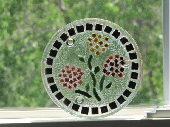 Mosaic Glass Trivet, candle plate, coaster, suncatcher, tablescape