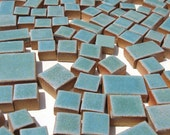 Mosaic tile hand cut Stoneware Robins Egg Blue Squares and Rectangles 2 Lb