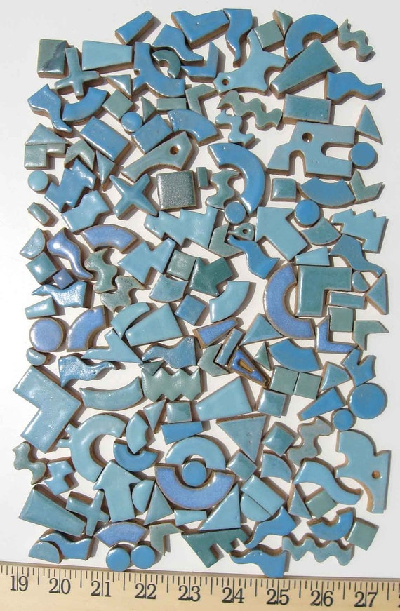 Mosaic tile hand cut Stoneware Mixed Blue Greens 2 Lb