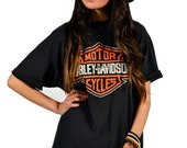 Vintage 90s Harley Davidson Faded Black Thin Distressed Motorcycle T-Shirt