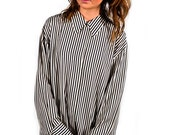 SALE 30% OFF // Vintage 90s Black and White Stripe Long Sleeve Button Up Collared Blouse