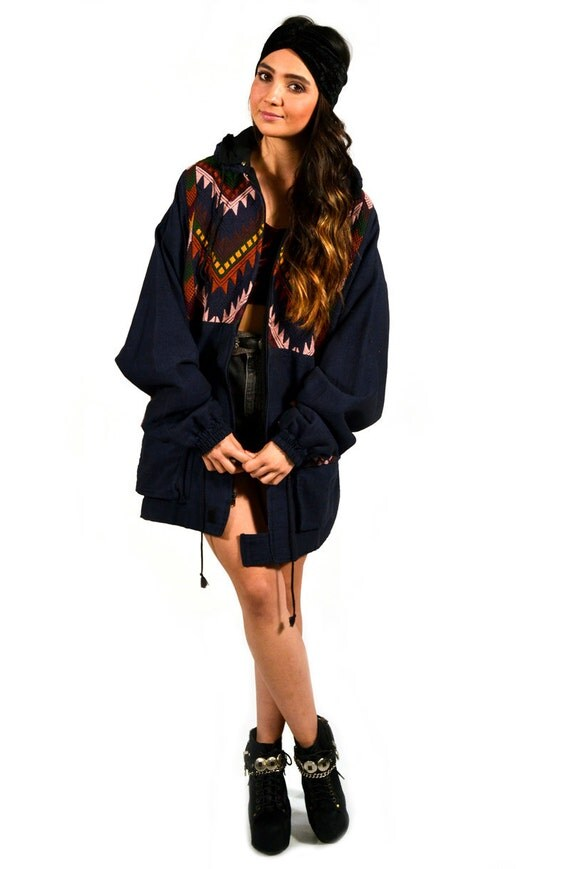 Vintage Multicolor Embroidered Native Southwestern Woven Long Coat