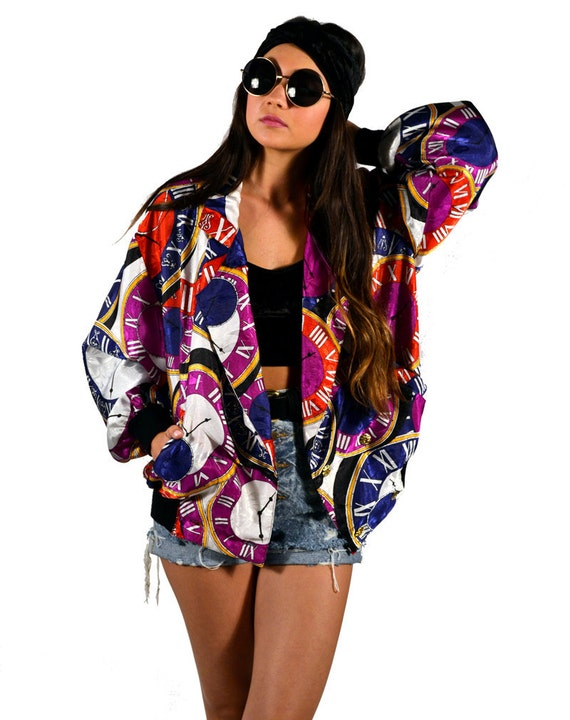 Vintage 80s Multicolor Clock Print Bomber Jacket