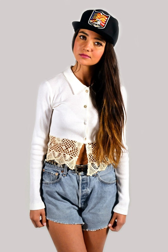 Vintage 90s Crochet Ribbed Long Sleeve Cropped Top