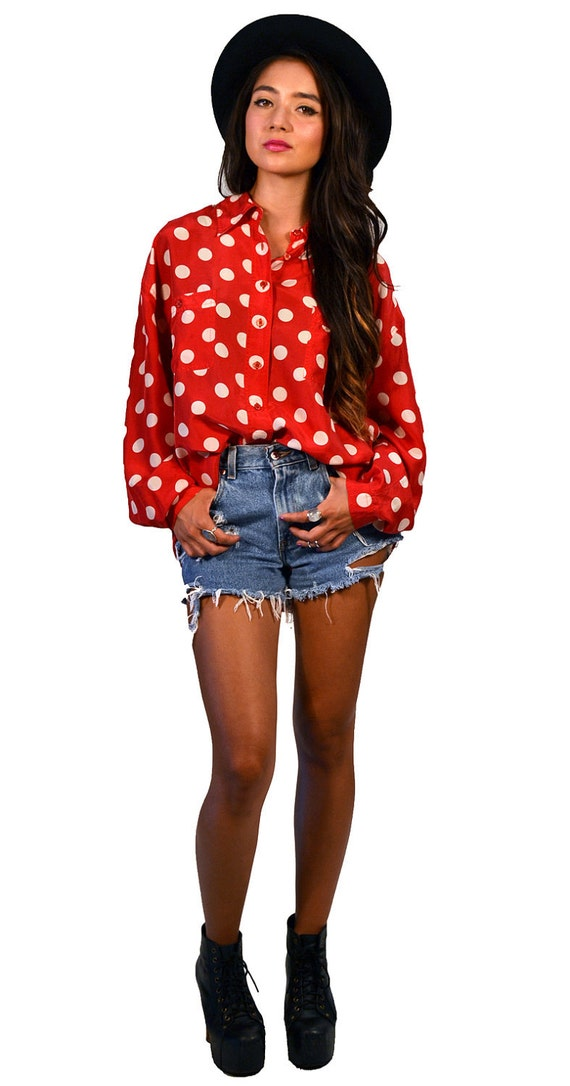 Vintage 90s Silk Red and White Polka Dot Button Up Blouse