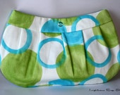 Buttercup Wristlet in Blue/Green Cotton Fabric