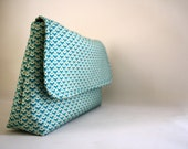 Diaper Bag / Bridesmaid-Wedding Clutch - Damask Teal - Lighthousebags
