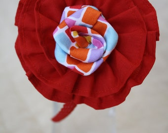 Red & Multi-Color Flower Headband