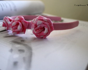 Pink Gingham Flowers Headband and Brooch Set  (Happy Mothers Day)
