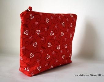 Wristlet Pouch w/ zipper -  Heart Lockets Red Fabric