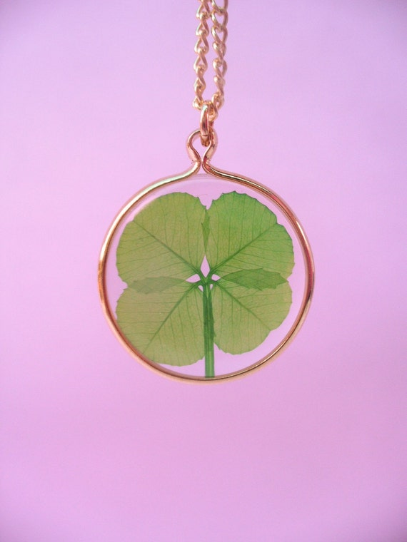Reserved Real Four Leaf Clover Pendant Necklace FREE SHIPPING WORLDWIDE