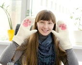Felted wool  white Gloves/Mittens -  Pink cat paw. Warm. Eco friendly. Handmade to order. Custom orders in 3 days. Gift under 50