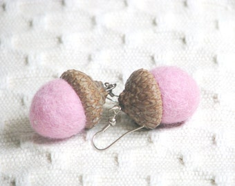 Felted Pink Acorn Earings (made with real acorn caps). Gifts Under 15