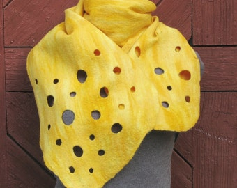 """Felted merino wool yellow scarf  """"Cheese"""" -  OOAK. Warm. Eco friendly.  Funky women's clothing."""