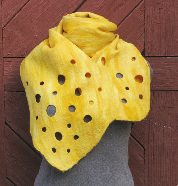 "SALE!!! Felted merino wool yellow scarf  ""Cheese"" -  OOAK. Warm. Eco friendly.  Funky women's clothing."
