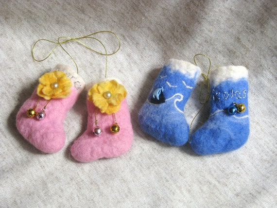 Special listing for Vonne.  Hand felted mini  Christmas stocking  ornaments - two pair. Personalized gifts