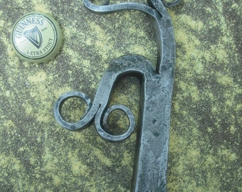 "Blacksmith Bottle Opener Hand Forged from a Railroad Spike ""Steinbeck's"""