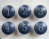 ON SALE- Deep Blue Number Painted Knobs - Set of 6