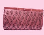 Pink satin hand block printed clutch bag copper paisleys wedding party bridesmaid gifts