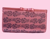 Pink satin hand block printed clutch bag metallic shimmery flowers wedding party bridesmaid gifts