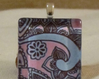 1 inch square tile pink and blue henna mehndi print glass pendant