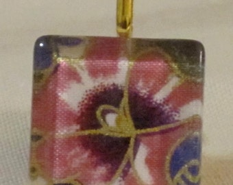 1 inch square tile burgundy pink flower gold outline print glass pendant
