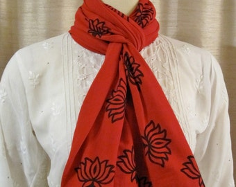 Tomato red 100% organic cotton jersey hand block printed scarf lotus flower wrap stretchy
