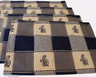 Set of 4 block printed table mats place mats navy blue checkered squares paisleys cotton blend