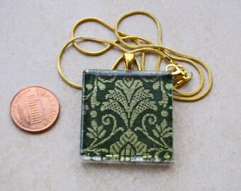 Elegant green & gold sari silk fabric brocade 1 3/8 glass tile pendant necklace chain