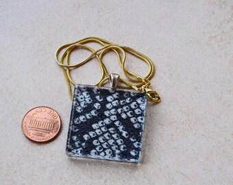 Black and white tie dye shibori japanese fabric kimono 1 3/8 glass tile pendant necklace chain