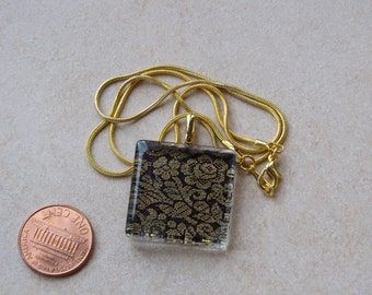 Elegant black & gold sari silk floral flowers fabric brocade 1 inch glass tile pendant necklace chain