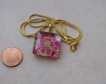 New one of a kind glass tile Japanese chiyogami print square 1 inch with gold magenta floral design necklace with chain Go Green