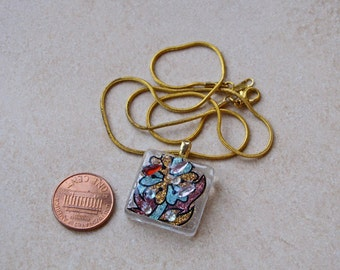 Gold glass tile Sparkling Pendant square 1 inch clear crystals glittering design necklace chain