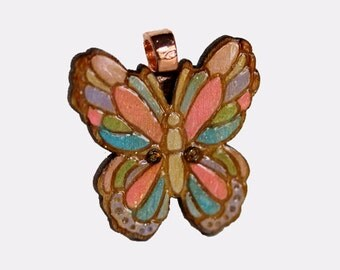 Cute little hand painted multi color butterfly wooden wood pendant smooth shimmery glossy w chain necklace copper bail