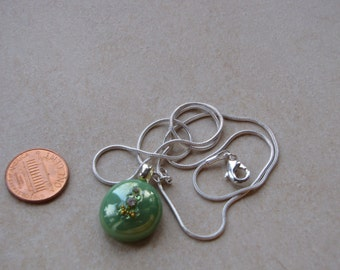 New one of a kind glass Pebble Pendants round sage green with silver gold shimmery crystals gllimmering necklace w chain