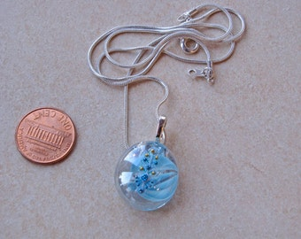 New one of a kind glass Pebble Pendants round clear with blue swirls blue shimmery crystals glimmering necklace w chain