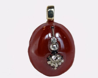 New glass Pebble Pendants round dark maroon shimmery silver crystals glimmering necklace w chain