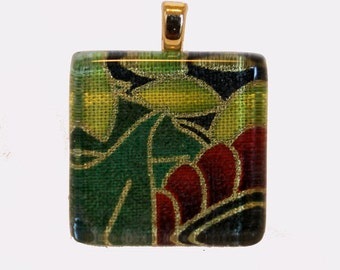 New one of a kind glass tile floral leaves green gold outline print square 1 inch pendant necklace with chain