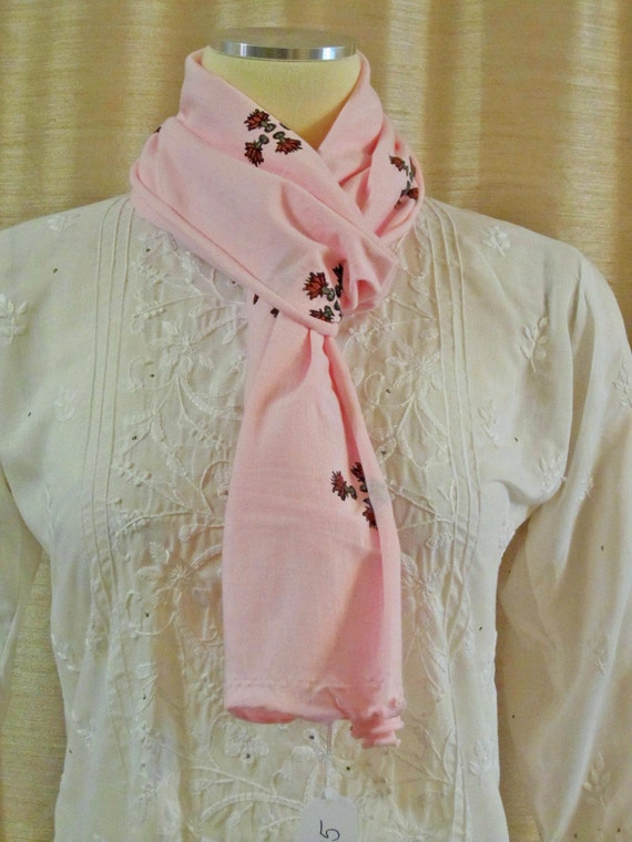 Baby pink narrow 100% organic cotton jersey hand block printed scarf tiny lotus flowers wrap stretchy FREE SHIPPING