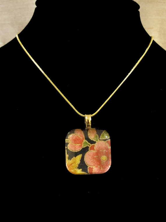 Go Green with my 1 inch square tile japanese cherry blossom flowers pink gold outline glass pendant eco friendly