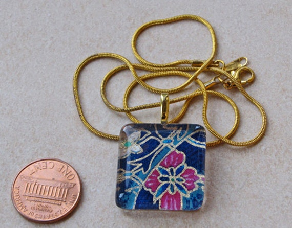 New one of a kind glass tile Japanese chiyogami print 1 inch sqyare w dark blue fuschia flowers gold outline necklace w chain Go Green