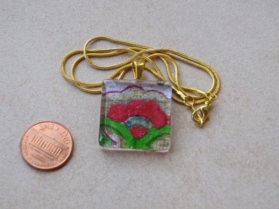 New one of a kind glass tile handmade indian paper floral print gold square 1 inch pendant necklace with chain Go Green