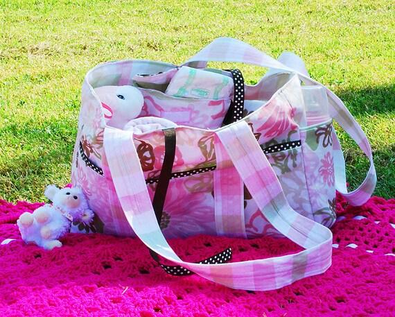 Custom Diaper Bag Set in Pink, Green, and Brown
