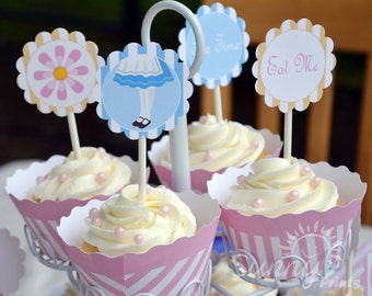 Alice/ tea party/ Eat Me (Instant Download) digital printable cupcake toppers