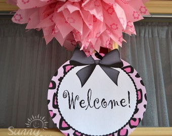 """Leopard Print Glam printable 8"""" circle welcome sign"""