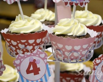 Sweethearts Sweet Shop (Valentine) Immediate download printable cupcake wrappers
