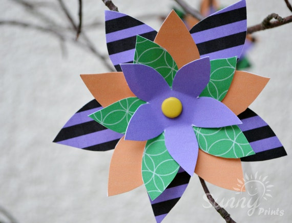 Halloween party printable paper flowers
